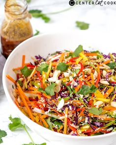 Asian Coleslaw - rainbow of crunchy vegetables drizzled with a spicy Thai-inspired dressing Side Dish Recipes, Asian Recipes, Real Food Recipes, Cooking Recipes, Healthy Recipes, Ethnic Recipes, Free Recipes, Healthy Food, Asian Coleslaw