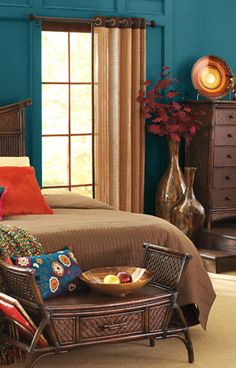 I love the bold and contrasting colors of this Pier 1 Bedroom. Gorgeous.