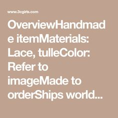 18ac37df441 OverviewHandmade itemMaterials: Lace, tulleColor: Refer to imageMade to  orderShips worldwideProcessing date:15