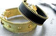 A fashionable zipper bracelet is so easy to make with hot glue, studs and jewelry findings.
