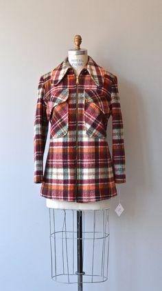 Backwoods wool coat 1970s plaid wool coat vintage by DearGolden