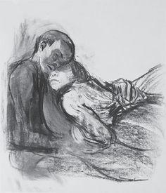 Lovers nestling against each other   -   Käthe Kollwitz  1909-10,   German, 1867-1945  Charcoal, wiped, on Ingres paper