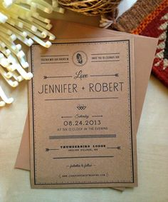 Rustic Kraft Paper Wedding Invitation - Boho Inspired - Eco Friendly