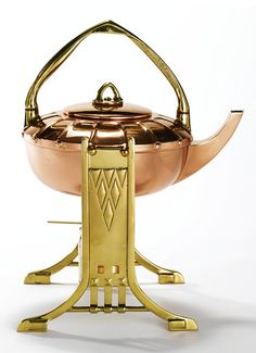 "Albin Müller ""Tea Machine"", kettle on stand with burner, c. copper and brass, manufactured by Eduard Hueck Art Nouveau, Copper And Brass, Copper Pots, Antique Copper, Clay Teapots, Aesthetic Design, Arts And Crafts Movement, Bauhaus, Tea Pots"