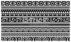 polynesian patterns | Maori Designs - Borders Royalty Free Stock Vector Art Illustration