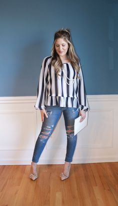striped peplum top, distressed denim, nude bow heels, white clutch, long pearl necklace, fashion