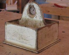 Wooden Napkin and Silverware Tote - Primitive Finish