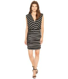 NICOLE MILLER NICOLE MILLER - STRIPED JERSEY BLOUSON DRESS (BLACK/GREY) WOMEN'S DRESS. #nicolemiller #cloth #