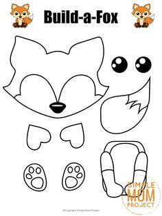 Build-a-Fox Craft for Kids with Free Printable Fox Templates - - This easy and fun fox craft project is perfect for kids of all ages like preschoolers and toddlers. Grab your free printable fox template and make him today! Farm Animal Crafts, Fox Crafts, Animal Crafts For Kids, Winter Crafts For Kids, Summer Crafts, Toddler Crafts, Crafts To Do, Preschool Crafts, Art For Kids