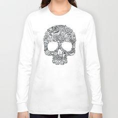 Sugar Skull flower pattern Long Sleeve T-shirt #longsleeve #tee #clothing #tshirt #dayofthedead #sugarskull #pattern #flower #floral #folkart #diadelosmuertos