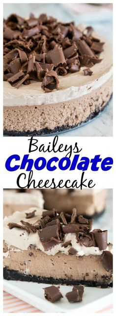 Baileys Chocolate Cheesecake – a rich  and creamy chocolate cheesecake with the great taste of Baileys Irish Cream. Topped with Baileys whipped cream and plenty of chocolate shavings!