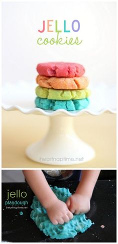 DIY Easy Jello Cookie and Jello Playdough Recipe. Recipe and how-to from I heart Nap Time here.