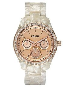 Fossil Watch, Women's Stella White Plastic Bracelet. Pearl and rose gold pink face. Love it!!!!