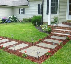 s 9 budget ways to make your walkway look even better than last year, concrete masonry, gardening, Surround your stepping stones with lava rocks