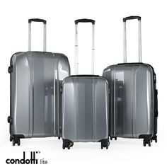 Condotti Lite - 3 Piece Lightweight Luggage Set Made from polycarbonate a material which is strong, light and resistance As light as a feather: Small - Medium- Large - You will find a integrated semi fixed TSA combination lock to protect your luggage Lightweight Luggage Sets, Combination Locks, 3 Piece, Travelling, Feather, Strong, Medium, Quill, Feathers