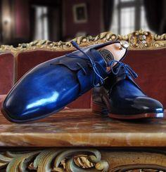 Paul Parkman Handmade Blue Derby Shoes for Men Website : www.paulparkman.com