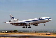 Finnair McDonnell Douglas DC-10-30 OH-LHE flaring for touchdown at Faro-International, circa 1991. (Photo: Pedro Aragão)