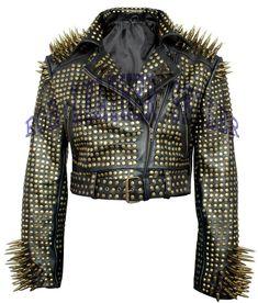#Black #Brando #Belted #Leather #Jacket #Bronze/ #Brace #Spike #Studded #Leather #Brando #Jacket #Spiked #Women #Leather #Jacket #Ladies #Biker #Jacket Black Leather Vest, Studded Leather Jacket, Leather Men, Suede Leather, Custom Leather Jackets, Punk Jackets, Lady Biker, Vintage Inspired, Golden Spike