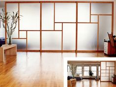 Raydoor sliding wall  (stacks in the middle/no floor track)