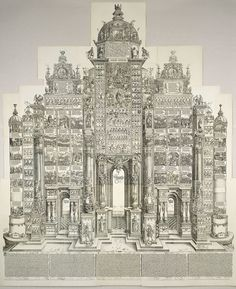 Albrecht Dürer (1471-1528) produced the 'triumphal arch' created for Holy Roman Emperor Maximilian I (1459-1519). This massive print is probably the most impressive, at least in terms of sheer scale. The image was created from 195 individual woodblocks and took almost three years to cut and print (1515-1518). The finished product was over 3.5 meters tall. Its form was meant to evoke the monumental arches commissioned by Roman emperors of antiquity.