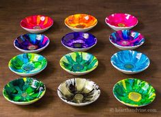12 flower alcohol ink jewelry dishes