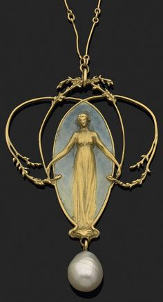 Gold, enamel and pearl pendant, by René Lalique, circa 1900. The 18k yellow gold pendant finely chased with foliage surrounding a young female against a greyscale enamel background, suspending a fine pearl, and hanging from stick link chain. Signed Lalique. #Lalique #ArtNouveau #pendant