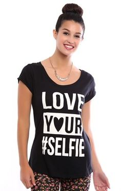 Deb Shops High Low Tee with Love Your Selfie Screen $12.00