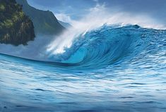 """Heavy Water"" surf art by @Ashton Jenkins Howard. Unbelievably realistic artwork."