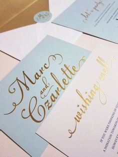 light blue, gold wedding.
