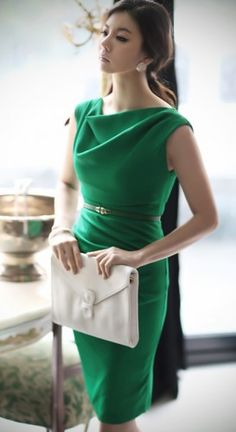 Emerald Green Cowl Neck Shift Dress.