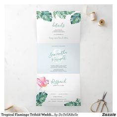 Addressing Wedding Invitations, Wedding Invitations Online, Wedding Invitation Wording, Zazzle Invitations, Wedding Stationery, Letter Folding, Floral Save The Dates, Wedding Details, Flamingo