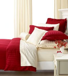 Red And White Bedroom I Have This Except Mine Is Cream Ivory
