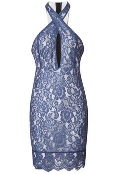 Blue Cross Halter Lace Crochet Bodycon Dress 30.67