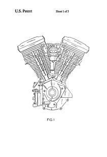 USA Patent Harley Davidson - V-Twin Engine Drawings