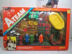 "1983 THE A-TEAM ""Combat Headquarters Set"" w/ 4 figures: MR. T (B.A. BARACUSS), +"