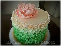 Peachy Peony and Green Ombre Ruffles