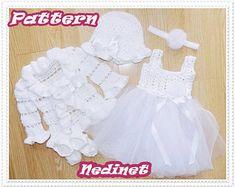 Crochet Pattern Crochet Hat Crochet Baby Dress by NedinetPattern