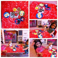 DIY American girl food I made with my niece. Made from foam paper stuff :) Sushi, salad, eggs, corn, dessert.