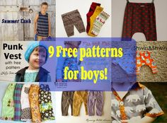 9 Free patterns for boys!