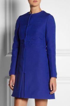 Valentino|Scalloped wool and silk-blend coat|NET-A-PORTER.COM