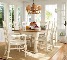Tables & Chairs Sumner Pottery Barn Extending Kitchen Table Thick Planked Wood Top White Substantial Legs With Farmhouse Style Turnings Kiln Dried Solid Pine Construction 7pc White Dining Set Wynn Ladderback Chairs Rustic Pottery Barn Kitchen Table