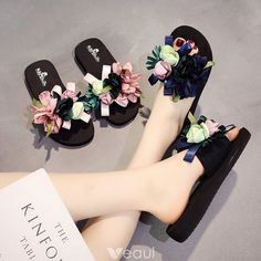 Elegant / beautiful black Casual Summer Slippers and flip flops 2018 Artificial flowers open / peep toe shoes for women , Bling Sandals, Shoes Flats Sandals, Beaded Sandals, Peep Toe Shoes, Women's Shoes, Fashion Slippers, Fashion Shoes, Pretty Shoes, Cute Shoes