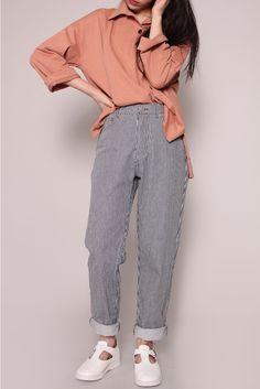 daeum:  stripe denim baggy pants  38,000원