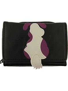 "Now everyone can take their dog out shopping! This chic little dog is sure to win over your affection. Made of vegan ""leather"", this wallet is designed to look and feel like leather,"