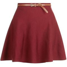 Burgundy Knitted Belted Skater Skirt ($27) ❤ liked on Polyvore featuring skirts, dark red, circle skirt, red flare skirt, burgundy skater skirt, burgundy skirt and red knee length skirt