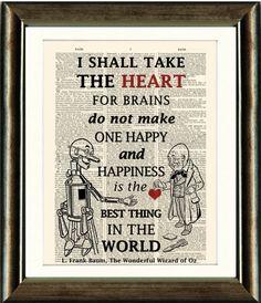 Wizard of Oz Tin Man Heart Quote 2vintage book by PixelArtPrints, $10.00
