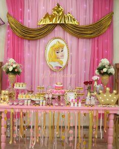 Princess party, fiesta princesa, princesa aurora, princess aurora, More – My Wor Princess Birthday Party Decorations, Disney Princess Birthday Party, Princess Theme Party, Birthday Party Themes, Birthday Crowns, 5th Birthday, Princess Aurora Party, Cinderella Party, Beauty Party Ideas