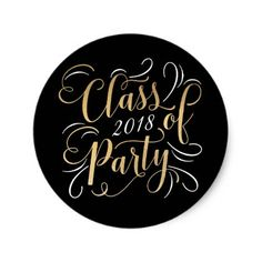 Class of 2018 Graduation Party Diy Stickers, Round Stickers, Black White Fashion, Black And White, Cool Gifts, Unique Gifts, Graduation Stickers, Class Of 2018, Gold Foil