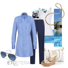 BLUEGRASS chambray tunic, MARINE blue ankle pants shown with Jimmy Choo PORTER wedge sandal | Etcetera Spring Collection