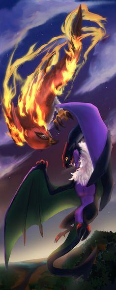 Artist: 黄昏の決闘/Raven(あるいは鶏) (Talonflame vs. Noivern). Ohhh my god. Epic!! - Ander